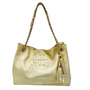 Tory Burch Gold Thea Chain Slouchy Tote Bag